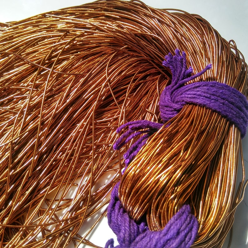 BRONZE COPPER Metallic French Wire Gimp Wire 50100200400 Grams couture threads metallic wire Bullion Wire embroidery materials