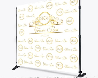 Custom 8x8 FEET Photo Booth Step And Repeat Prom Gold Props Printable Backdrop