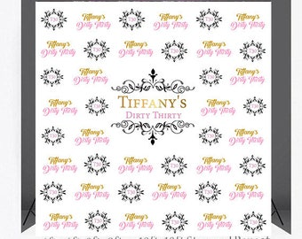Custom 8X8 Photo Booth Backdrop Step And Repeat Birthday Printable Prom Back Drop