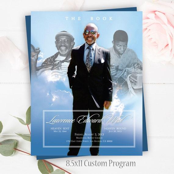 Funeral Memorial Template Funeral Program Celebration Of Etsy