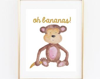 Funny Nursery Printable, Oh Bananas Sign, 8x10 Instant Download,Wall Art Sign, Nursery Decor, Monkey with Banana Sign, Monkey Animal