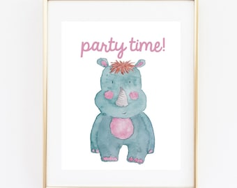 Funny Nursery Printable, Party Time, Sign, 8x10 Instant Download,Wall Art Sign, Nursery Decor, Hippo Sign