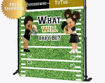Team boy team girl backdrop, Gender reveal Backdrop, Touchdowns or Tutus backdrop,Footballs or cheer bows backdrop, pom poms or footballs