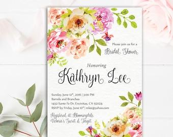 Floral Bridal Shower Invitation | Bridal Shower Printable | 4x6 or 5x7 Custom Bridal Shower Invitation | Floral Invitation | Pink Flowers