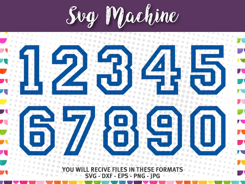 SVG sport numbers - Varsity Block Number – College Numbers Font File - dxf  eps png jpg - files for Silhouette Cameo Cricut - Sporty Numbers