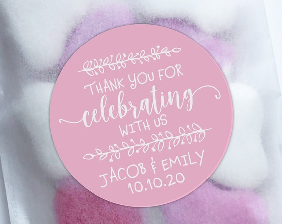 Wedding favors for guests, Thank you stickers, Custom labels by Blooms