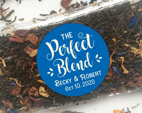 The Perfect Blend Labels, Custom wedding stickers and labels, Wedding stickers personalized for favors, Custom Party Favor Stickers Rustic