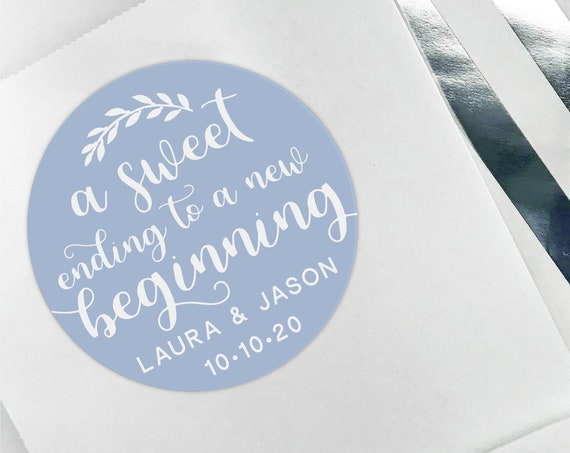 Personalised stickers wedding, Custom design stickers, Personalized sticker labels, A sweet ending to a new beginning sticker, Favor sticker