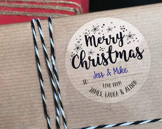 Clear christmas stickers, Merry Christmas Label, Christmas Stickers, Gift wrapping ideas christmas, Christmas personalized gift tags
