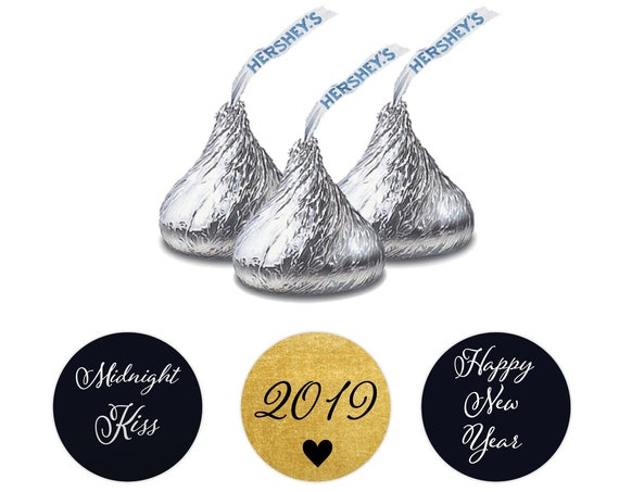Midnight kisses sticker, Hershey kiss labels,  Holiday stickers personalized, Hershey kiss labels, New Year stickers for kisses