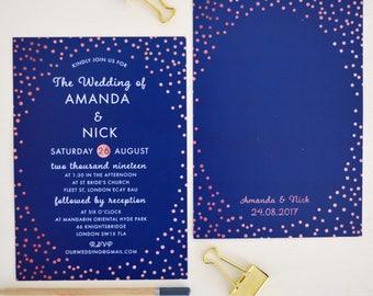 Rose gold wedding Invitation, Navy Wedding Invite printable, Navy and rose gold wedding invitations, Navy blue wedding invitation template