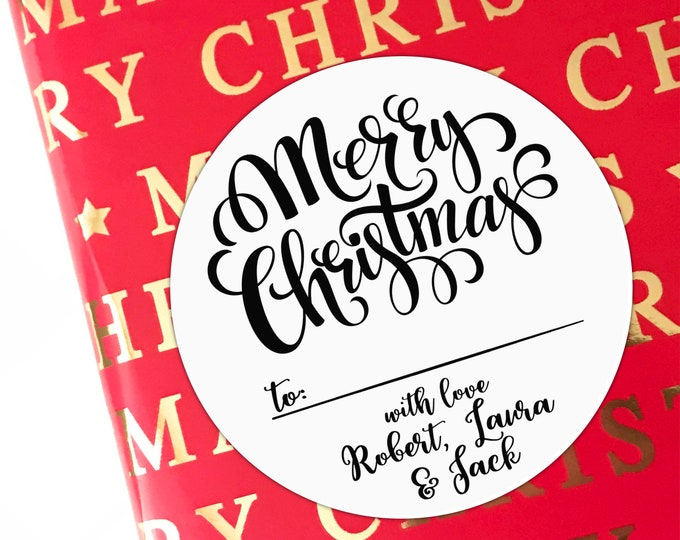 Christmas stickers for presents, Custom Christmas labels by Blooms