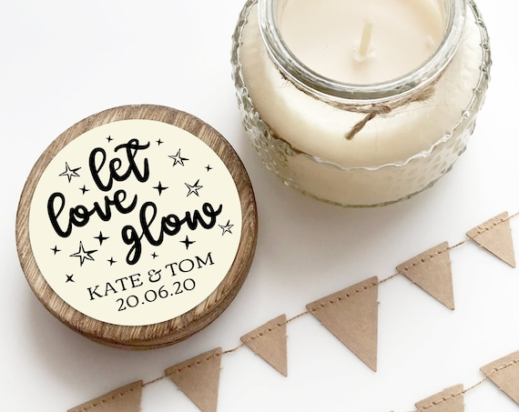 Let love glow custom stickers for candle stickers wedding, Mason jar labels wedding, Thank you stickers for wedding favours, Round stickers
