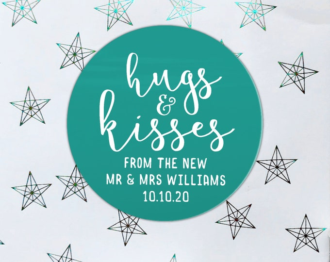 Hugs and kisses wedding favor stickers round, Mr and mrs thank you stickers, Wedding favor tags, Wedding kiss sticker from mr and mrs