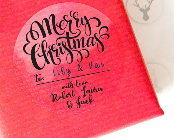 Clear christmas stickers for presents, Custom Christmas labels by Blooms