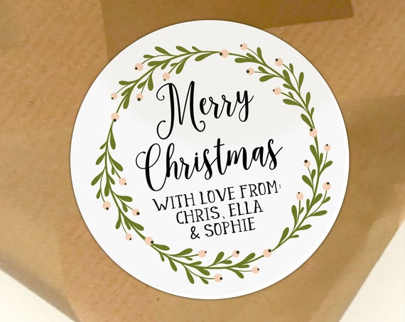 Holiday stickers personalized, Christmas stickers personalised by Blooms