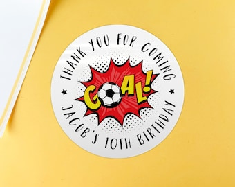 Football birthday party favor stickers kid party favor, Happy Birthday party favor sticker, Custom birthday sticker, Round gift sticker
