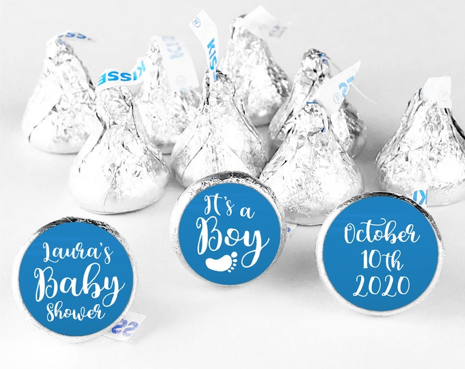 Its a boy hershey kiss stickers for baby shower favors, Hershey kiss labels, Shower hershey kisses, Baby footprints custom stickers
