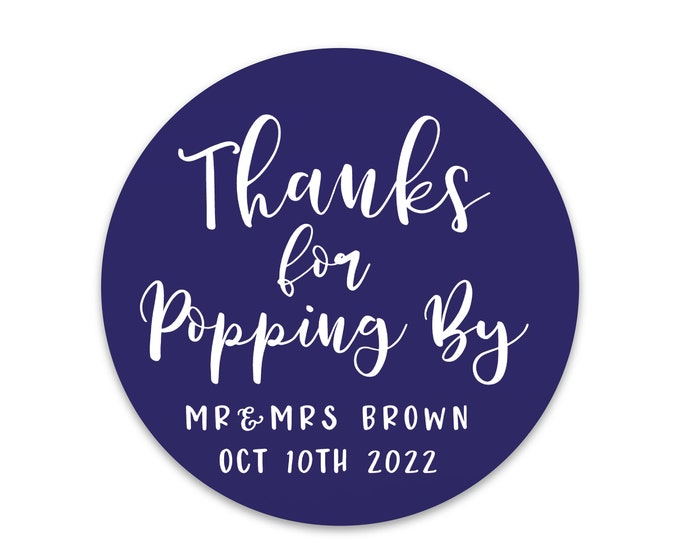 Round graduation stickers for popcorn, Baby shower thank you stickers, Custom Thanks For Popping By Stickers, Popcorn favors  stickers