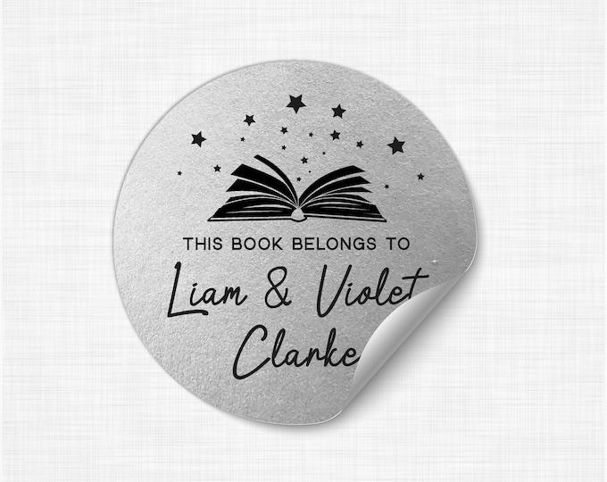 Custom book lover gift book teacher name stickers, Personalized sticker sheet, Book club decal, Round teacher stickers