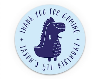 Personalised dinosaur party stickers, Party Favor Sticker, Personalized Round Stickers, Kids Birthday Sticker, Dinosaur Birthday Favors