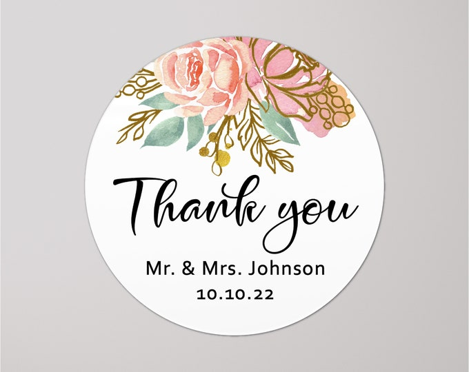 Custom wedding favor thank you gift personalised stickers, Round welcome name stickers, Custom labels, Thank you tags