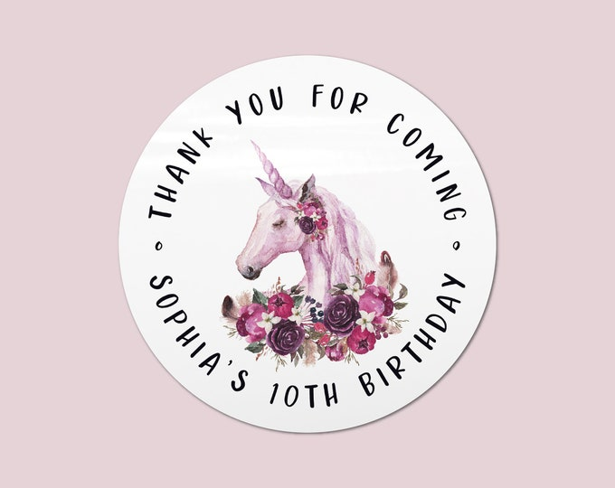 Unicorn stickers and labels for birthday party favors, Unicorn party favours, Round stickers thank you, Personalised sticky labels