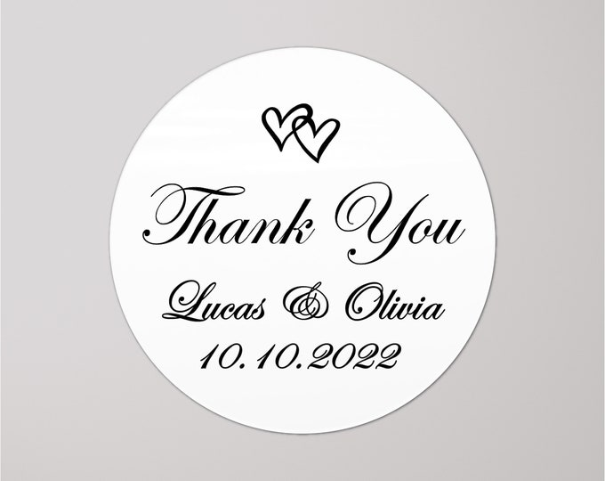 Wedding thank you stickers personalised labels, Custom stickers round labels, Thank you wedding  labels, Welcome sticker for wedding bag