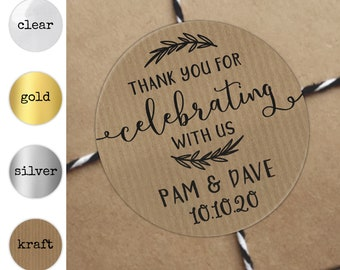 Personalised stickers wedding thank you stickers for favors wedding, Circle stickers labels, Kraft stickers, Personalized stickers wedding