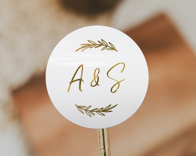 Custom gold foil thank you wedding circle stickers labels, Round packaging stickers labels, Custom text stickers, Your text here stickers