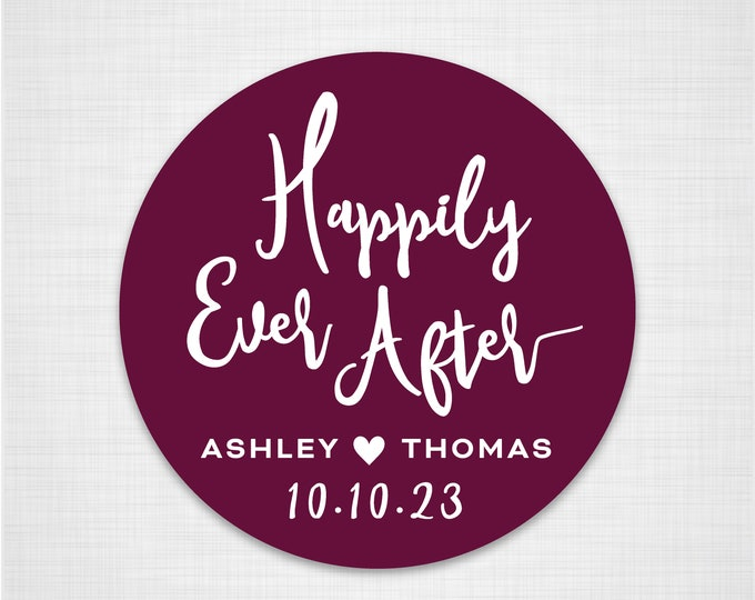 Custom thank you wedding labels stickers envelope seal stickers, Personalized happily ever after sticker, Wedding labels stickers - RW18