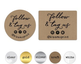 Follow Us on Social Media Sticker Sheets, Small Business Follow & Tag Labels, Cute Packaging Supplies, Custom Etsy Label Decals