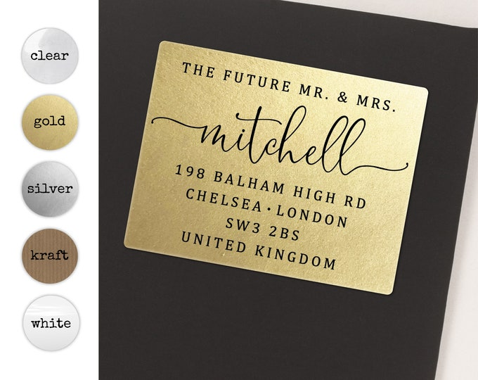 Future mr and mrs return address calligraphy sticker, Future mr mrs label, Engagement sticker, Custom return rsvp address label, 20 stickers