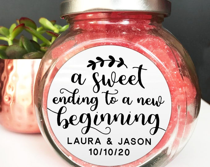 Featured listing image: Personalised stickers wedding, Custom design stickers, Personalized sticker labels, A sweet ending to a new beginning sticker, Favor sticker