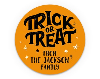 Happy halloween sticker, Personalized halloween stickers, Trick or treat stickers, Party favor labels, Halloween treat stickers, Labels