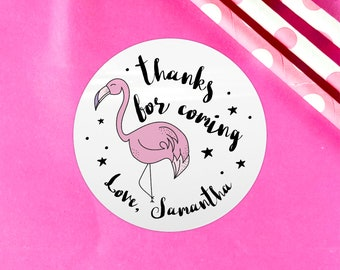 Flamingo happy birthday party stickers, Thank you for coming to my party, Stickers for party favor bags, Custom birthday party labels