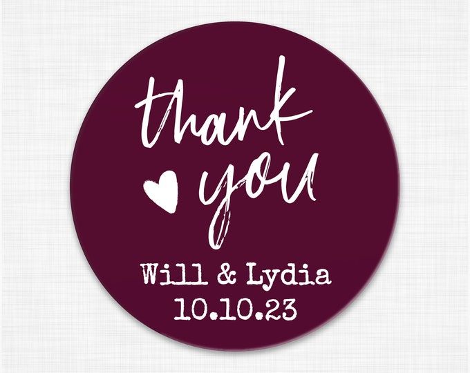 Personalized wedding thank you favor stickers, Thank you round labels,  Custom wedding favor labels, Party favor round stickers - RW66
