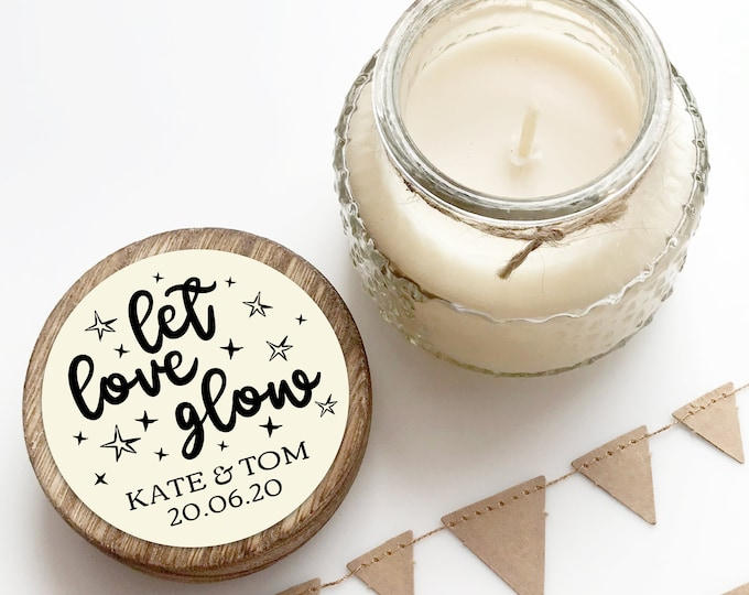 Featured listing image: Let love glow custom stickers for candle stickers wedding, Mason jar labels wedding, Thank you stickers for wedding favours round stickers