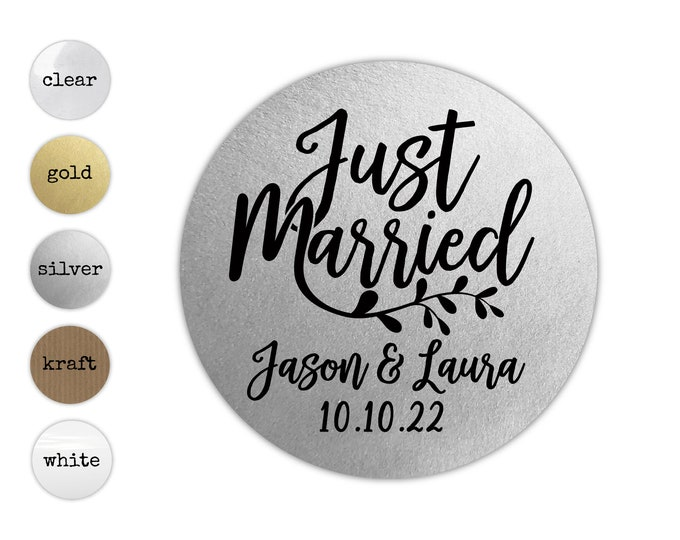 Just married wedding stickers and labels, Thank you stickers for favors, Custom favor sticker, Gold wedding sticker, Unique wedding favor