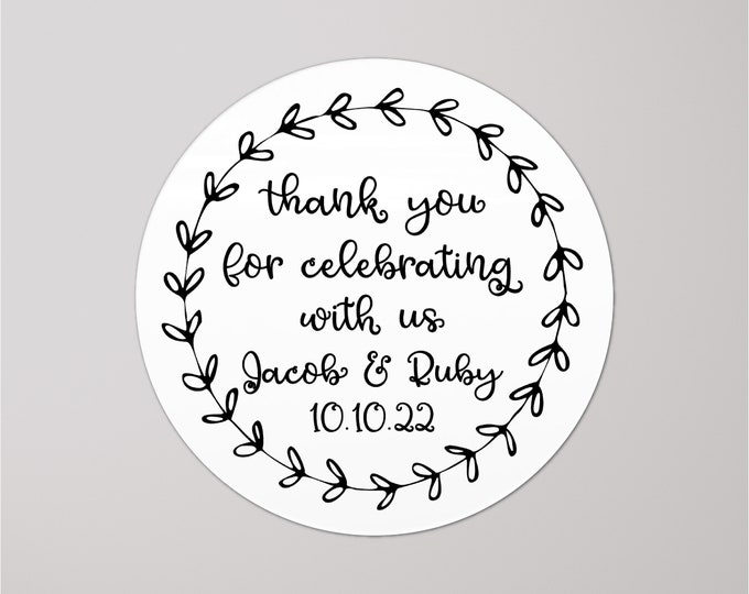 Custom birthday thank you tags wedding stickers, Personalized thank you for celebrating with us labels stickers, Custom Party Favor stickers