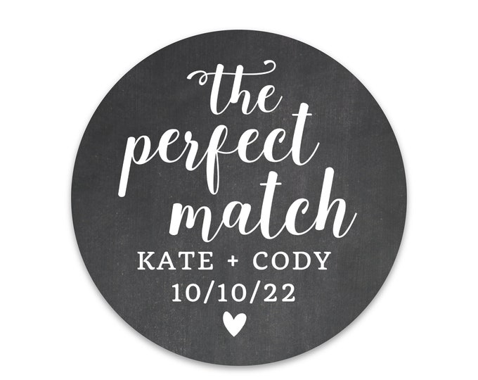 The perfect match personalized wedding stickers, A perfect match wedding labels, Custom favor labels, DIY wedding favors, Thank you sticker