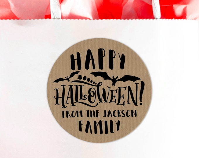 Happy Halloween favors stickers, Personalized sticker, Halloween labels, Treat bag stickers, Candy round stickers, Custom stickers
