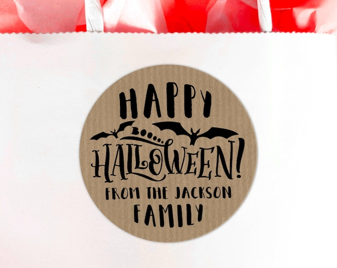 Happy Halloween favors stickers, Personalized sticker, Halloween labels, Treat bag stickers, Candy round stickers, Custom stickers - BP19