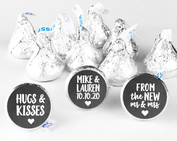 Hugs and kisses hershey kiss sticker wedding stickers for favors, Hershey kiss labels, Wedding Hershey Kisses, Wedding favor stickers