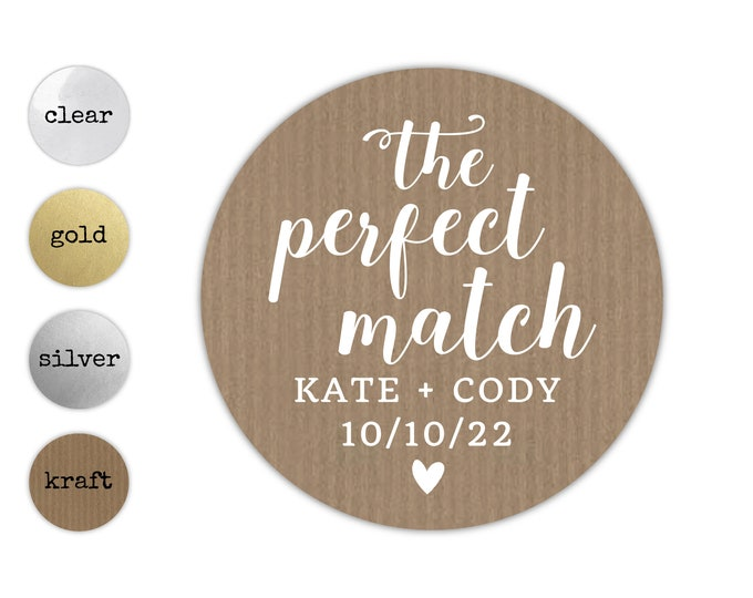 The Perfect Match Sticker, Golden Wedding Stickers, Custom Stickers, Mason Jar Stickers, Sayings Stickers, Custom Wedding Favor Sticker