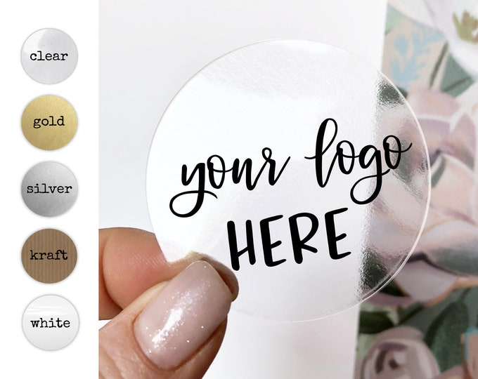 Custom business logo branding clear stickers labels, Clear Business Logo Labels, Packaging Supplies for Etsy Shops
