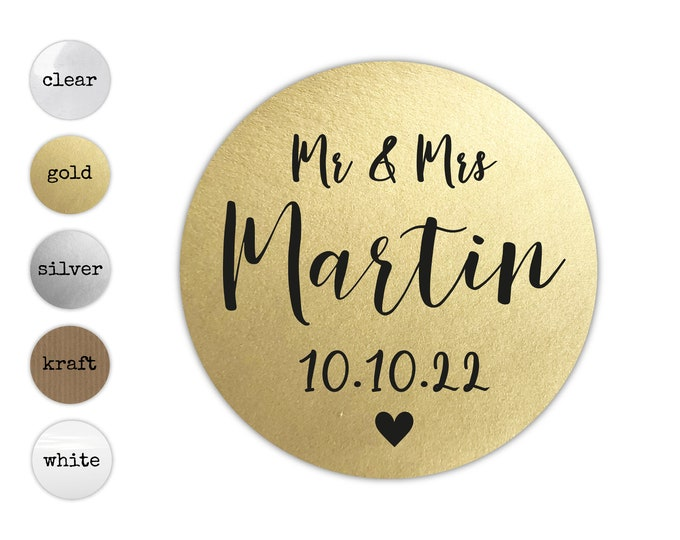 Wedding envelopes seals for invitations, Wedding seal stickers, Wedding favor labels, Personalised round gold stickers