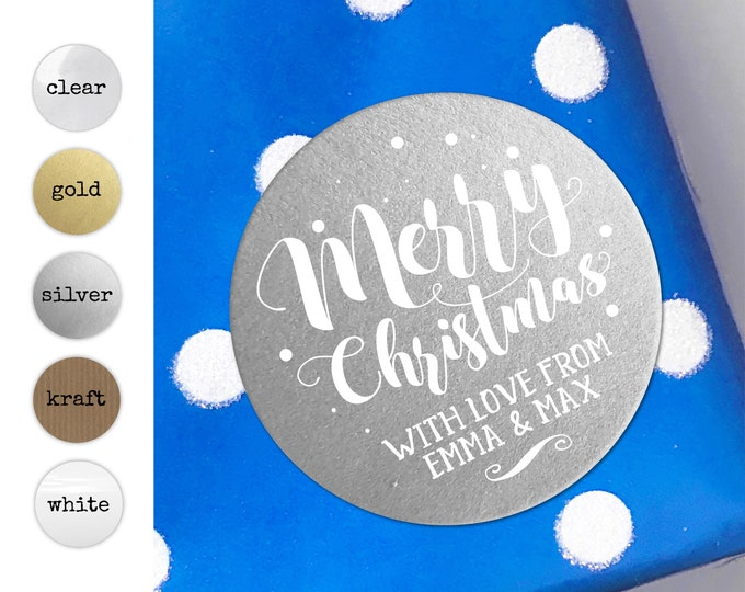 Personalised Christmas Stickers Merry Christmas Tags Sticker Labels for Mason Jars Custom Tags for Handmade Items Envelope Name Stickers