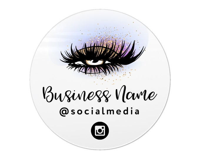 Eyelash extension label design logo sticker, Eyelash logo business sticker, Lashes custom logo sticker, Business lash logo stickers