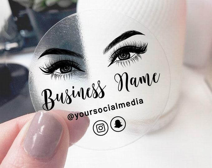Eyelash packaging custom business logo sticker design, Modern logo sticker business logo lash extensions elegant logo, Makeup logo - ES11